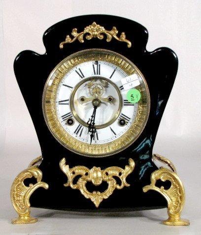 5: Waterbury Spree Enameled 8 Day Iron Clock
