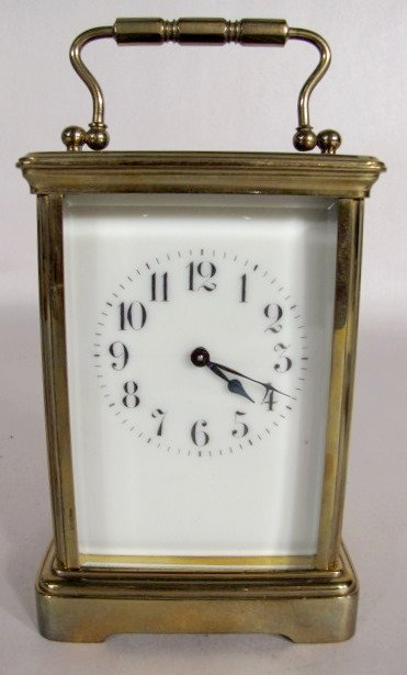 11: Brass French Carriage Clock w/Beveled Glass