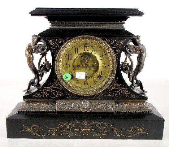 16: Ansonia Rosalind Enameled Iron Clock