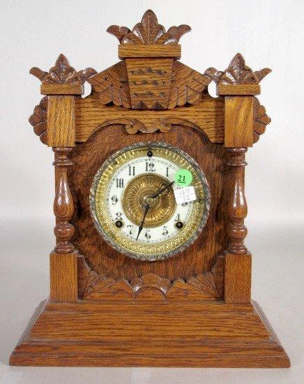 21: Ansonia Tivoli Oak Cabinet Clock