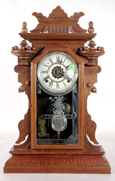 24: Waterbury 8 Day Walnut Kitchen Clock