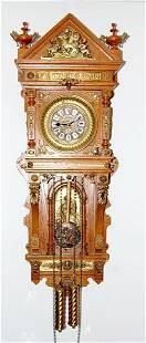 150: Ansonia Antique Oak Hanging Clock