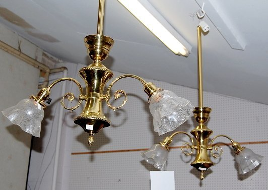 1: Pair of Brass Hanging Light Fixtures With Shades