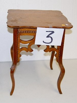 3: Small Oak Table With Beaded Trim