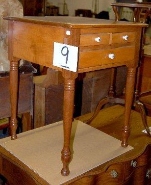 9: Walnut & Maple 3 Drawer Side Table