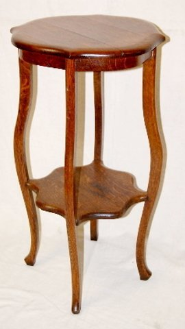 10: Tiger Oak 4 Leg Lamp Table With Stretcher