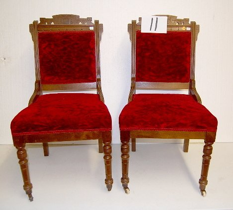 11: Pair of Victorian Walnut Parlor Chairs