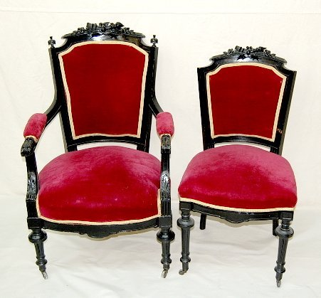 18: Pair of Ebony French Carved Chairs