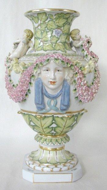 19: Contemporary Ornate Porcelain Vase W/ Lady Heads