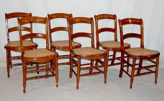 23: Set of 6 Walnut Caned Chairs With Shield Back