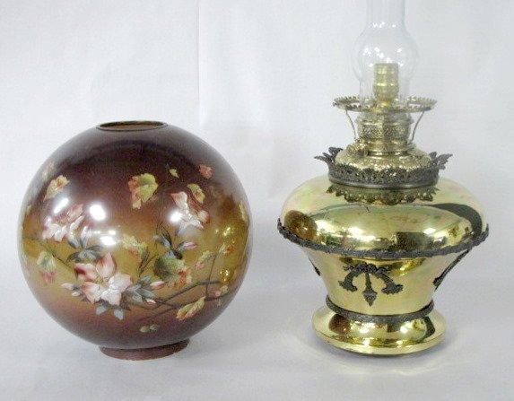 24: Bradley & Hubbard Brass & Glass Parlor Lamp