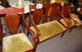 40 3 Piece Parlor Set Mahogany Settee Rocker  Chair