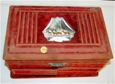 374 Mechanical Jewelry Box Red Felt