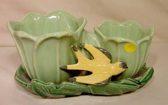 1: Signed McCoy Pottery Double Flower Pot Finch NR