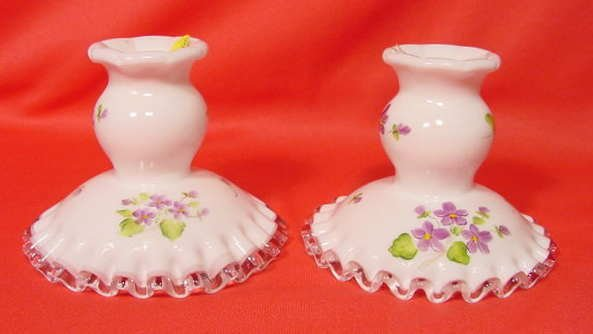 3: Pr Fenton Clear Crest Candle Holders Violets Snow