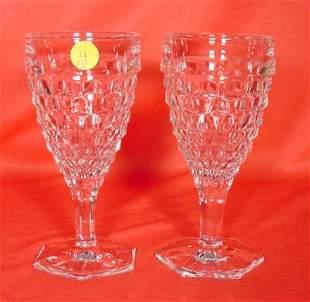 "8 Fostoria ""Log Cabin"" Stemmed Water Glasses NR"