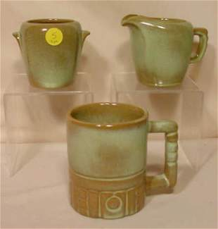 3pc Signed Frankoma Pottery: Sugar Creamer Mug NR