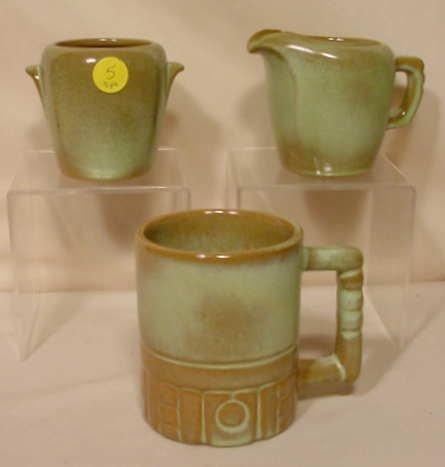 5: 3pc Signed Frankoma Pottery: Sugar Creamer Mug NR