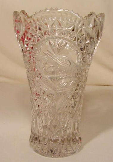 22: Lead Crystal Vase with Bird Panel NR