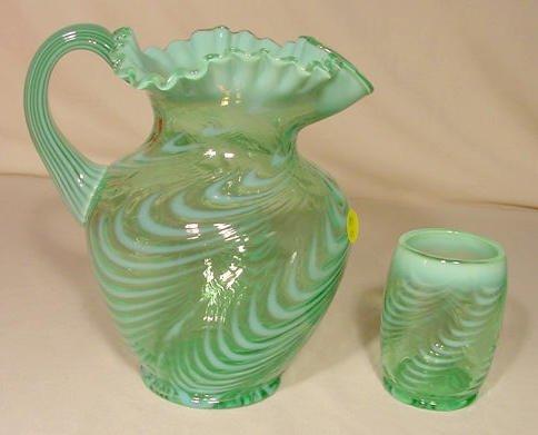 184: 7pc Fenton Opalescent Green Water Set Nr