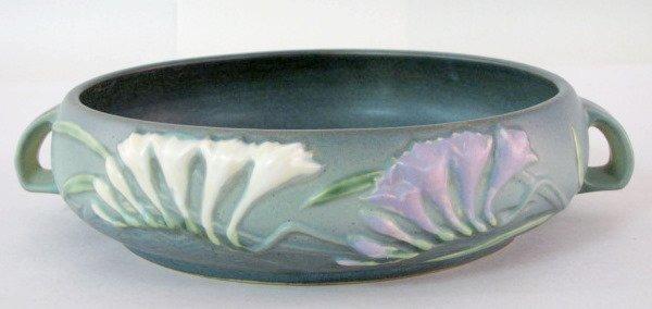 7: Green Roseville Freesia 465-8 Art Pottery Bowl