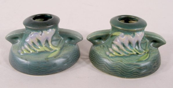 7A: Pair Roseville Pottery Freesia Candle Holders