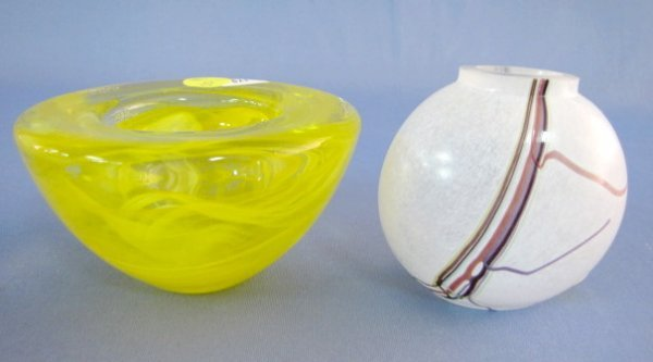 8: Kosta Boda Rainbow Vase & Yellow Bowl