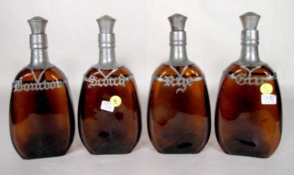 9: 4 Liquor Bottles w/Pewter Name Plates