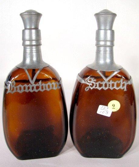9: 4 Liquor Bottles w/Pewter Name Plates - 2