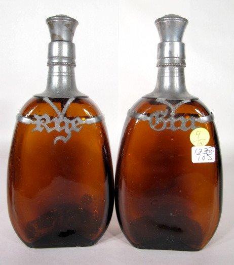9: 4 Liquor Bottles w/Pewter Name Plates - 3