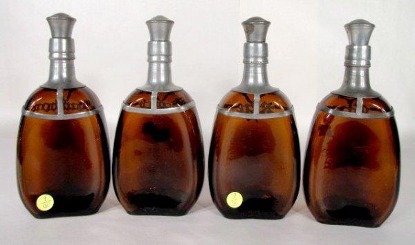 9: 4 Liquor Bottles w/Pewter Name Plates - 4