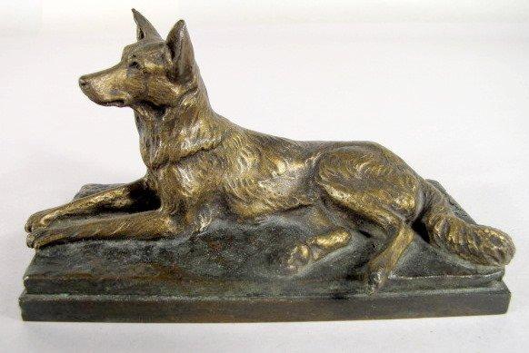10: A. Laplanch Bronze German Shepherd Figure