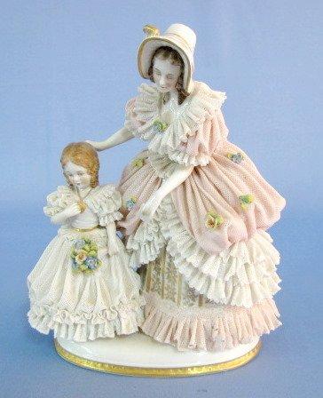 11: German Porcelain Lace Woman & Child