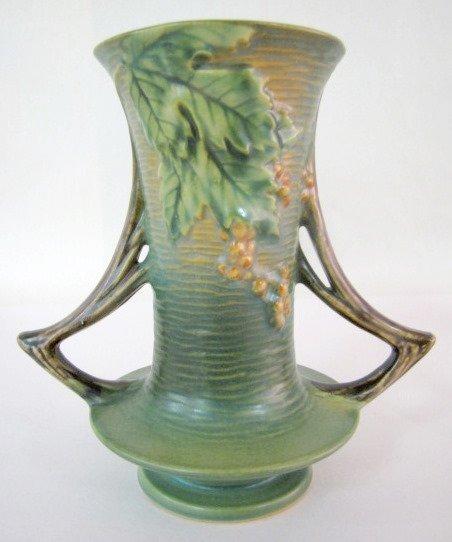 13: Roseville Bushberry 34-8 Art Pottery Vase, Green