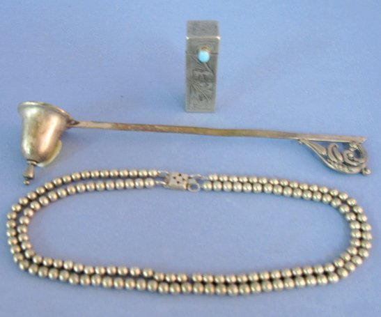 19: Sterling Necklace, Candle Snuffer & Lipstick