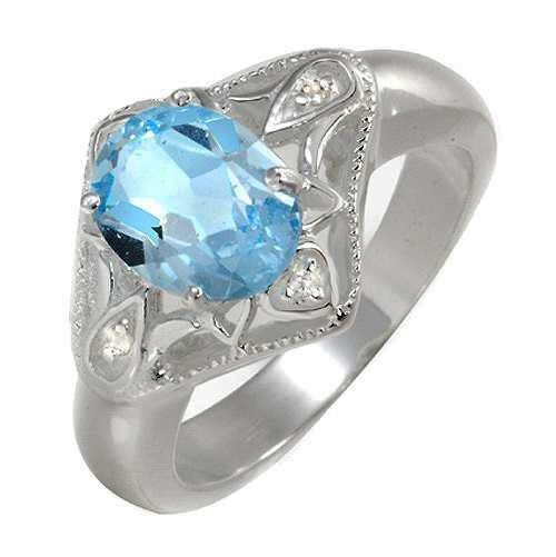 5A: 2.55ct. Genuine Blue Topaz Sterling Silver Ring