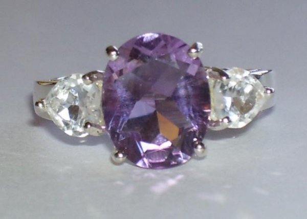 10A: 5.5ctw Amethyst & White Topaz Heart Sterling Ring