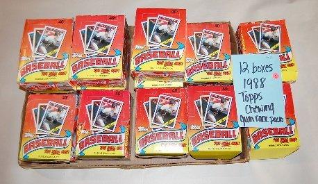 1: 12 Boxes 1988 Topps Baseball Rack Paks