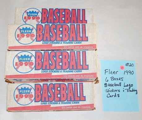 5: 6 Boxes Fleer 1990 Baseball Trading Cards