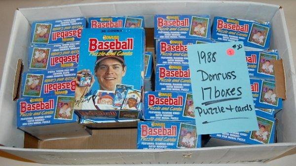 7: 17 Boxes 1988 Donruss Puzzle & Baseball Cards