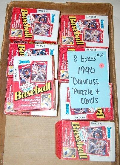 9: 8 Boxes 1990 Donruss Baseball Puzzle & Cards