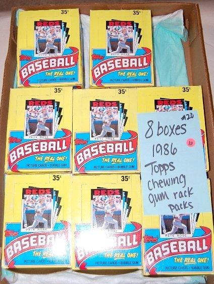 10: 8 Boxes 1986 Topps Baseball Bubble Gum Rack Paks