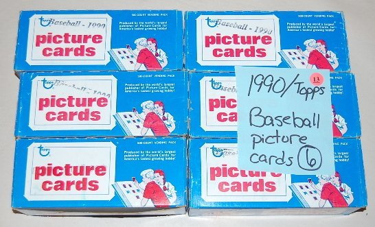 13: 6 Boxes 1990 Topps Baseball Picture Cards