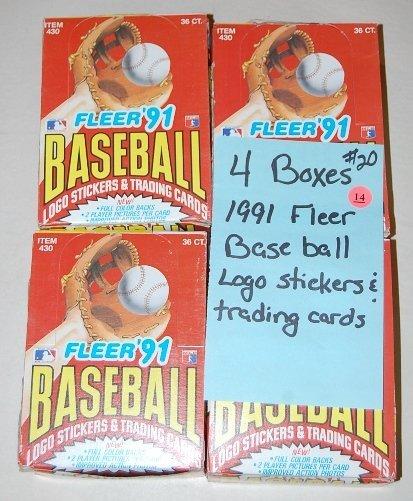14: 4 Boxes 1991 Fleer Baseball Trading Cards