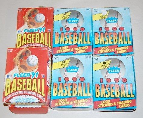 15: 7 Boxes Fleer Baseball Trading Cards- 1990 & 1991
