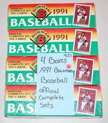 16: 4 Boxes 1991 Bowman Baseball Cards Complete Sets