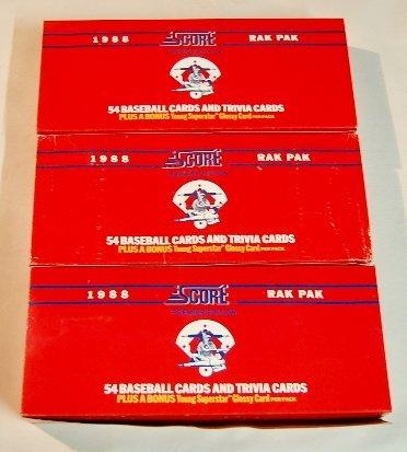 21: 3 Boxes 1988 Score Baseball & Trivia Cards