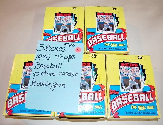22: 5 Boxes 1986 Topps Baseball Picture Cards