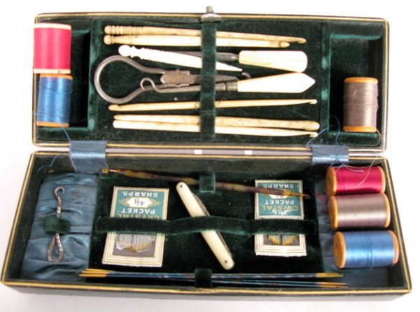2: Antique Sewing Kit With 9 Ivory Items