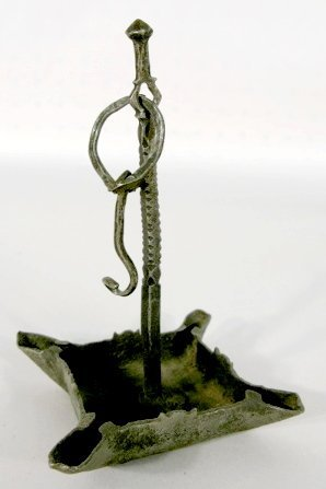 12: Early Wrought Iron Hanging Oil Lamp
